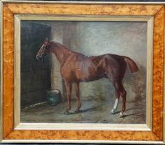 Portrait of a chestnut horse in stable - Scottish 19th century art oil painting