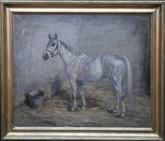 Portrait of a Grey Horse - Scottish Impressionist art oil painting - War Period