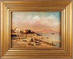 19th-20th century Italian landscape painting - View Naples - Oil on canvas