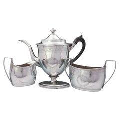 Robert and David Hennell English Georgian Sterling Silver Coffee Set 3-Piece