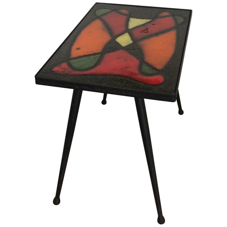 Robert and Jean Cloutier French Midcentury Ceramic Cocktail or Side Table For Sale