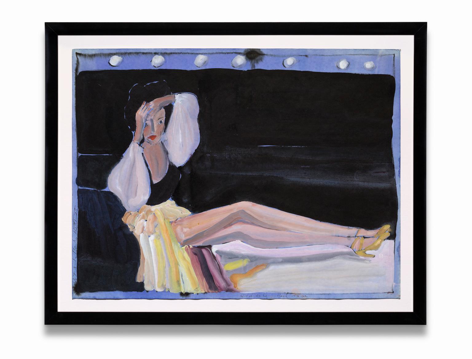 """Headache Backstage"", Lounging Female Figure, Gouache on Paper"