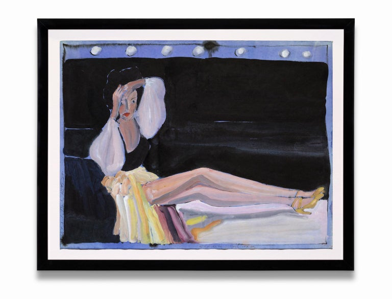"""Robert Andrew Parker Figurative Painting - """"Headache Backstage"""", Lounging Female Figure, Gouache on Paper"""