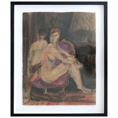 Robert Andrew Parker Abstract Painting of Two Figures in Aquatint