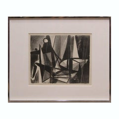 """Night"" Black and White Abstract Cubist Style Lithograph 3"