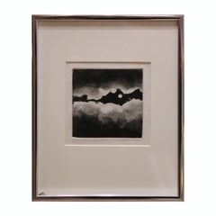 """Night Sky II"" Black and White Abstract Aquatint 3/10"