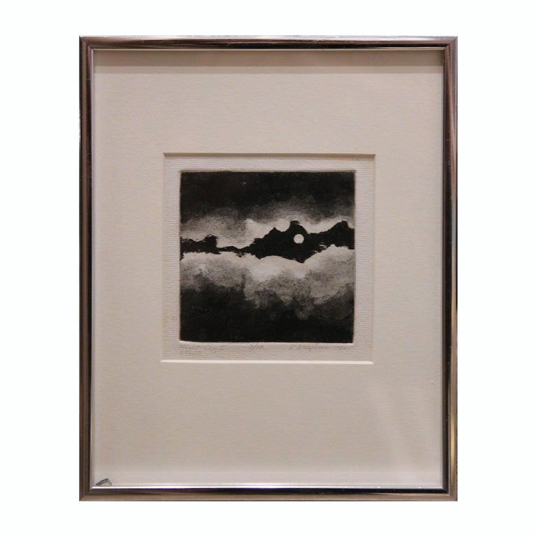 """Robert Angeloch Abstract Print - """"Night Sky II"""" Black and White Abstract Aquatint 3/10"""