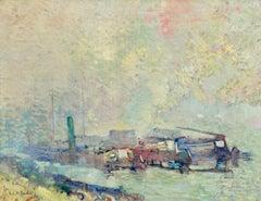Bords du Seine à Rouen, Post Impressionist Fauvist Oil, Riverscape by RA Pinchon
