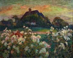 Fleurs de Champs - 20th Century Oil, Flowers by Cottage in Landscape by Pinchon