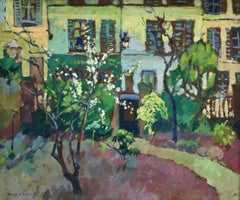 Le Jardin Fleuri - 20th Century Oil, Flowers in Garden Landscape by R A Pinchon