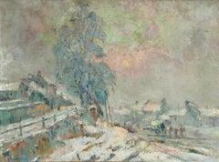 Near Rouen - 19th Century Impressionist Oil, Snowy Landscape by Robert Pinchon