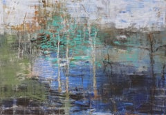 Birch Grove, Abstract Expressionist Oil Pastel