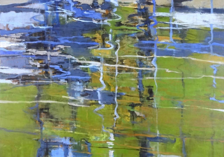 Branch Pond, Abstract Landscape Oil Painting