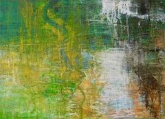 Rain Garden, Abstract Expressionist Oil Pastel