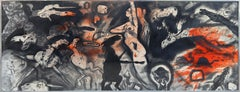 Large Surrealist Mixed Media Painting by Robert Beauchamp