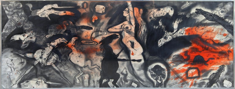 A mixed media work on paper by Robert Beauchamp from 1979. An abstract surrealist scene with figurative representations and expressionist colors.   Artist: Robert Beauchamp Title:	Untitled - III Year: c. 1979 Medium:	Mixed Media on Paper,