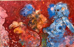 American Neo Expressionist Woman with Camels Abstract Modernist Oil Painting