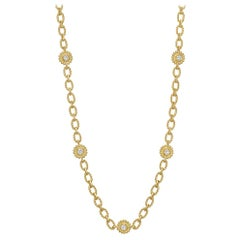 Robert Bielka 18 Karat Yellow Gold and Diamond Link Long Necklace