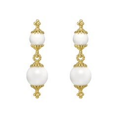 Robert Bielka 18 Karat Yellow Gold and White Coral Double Drop Earrings