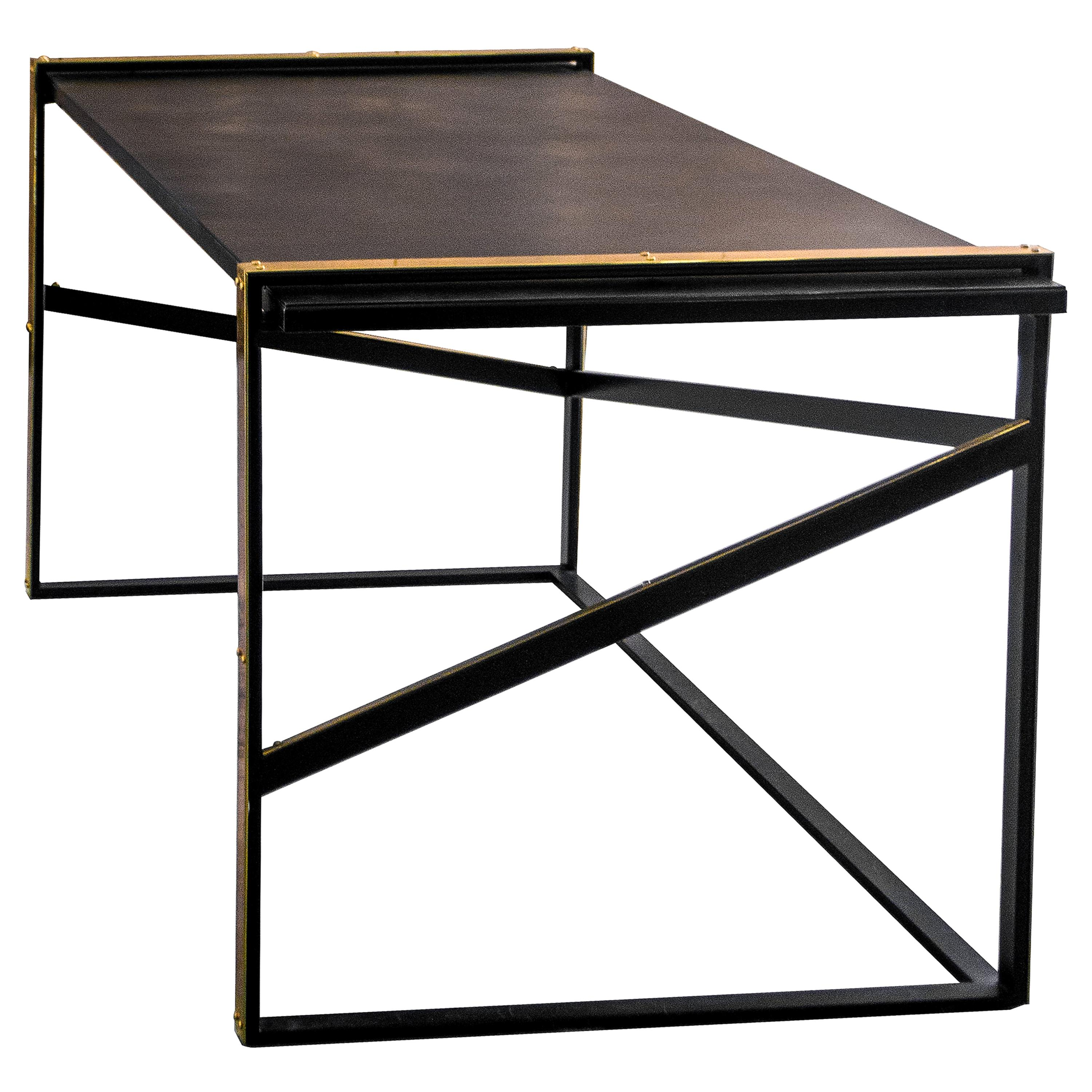 Robert Blackened Steel and Marble Desk with Brass Accents