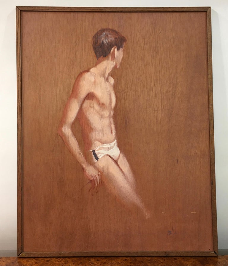 Figurative painting by Robert R. Bliss (1925-1981) of an idealized adolescent male model wearing a white briefs bathing suit. The painting is oil on a sheet of wood luan. The board is set within a slim frame made of oak, the lower corners of which