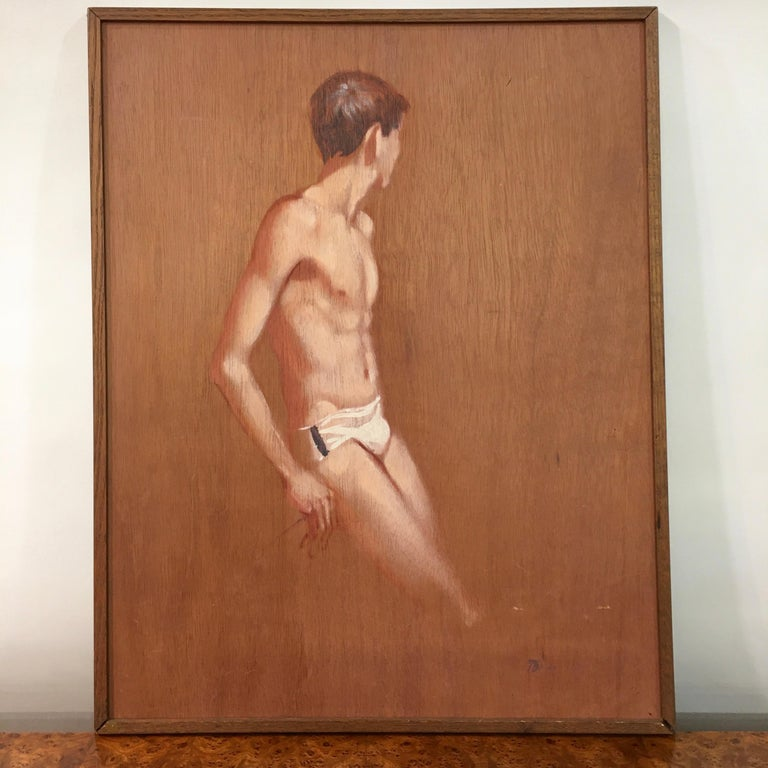 Mid-Century Modern Robert Bliss Figurative Painting of Young Male For Sale