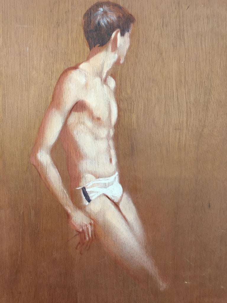 Hand-Painted Robert Bliss Figurative Painting of Young Male For Sale