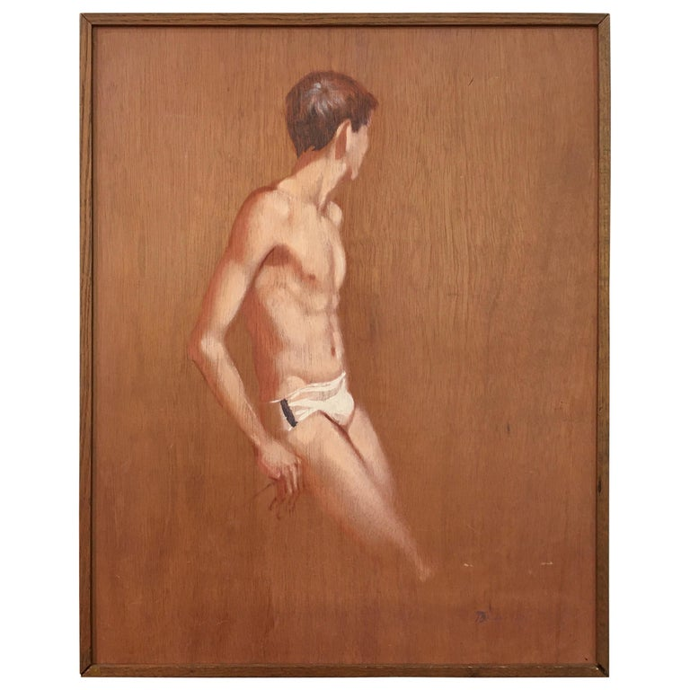 Robert Bliss Figurative Painting of Young Male For Sale
