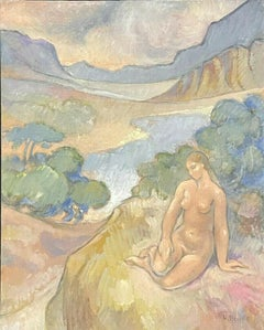 LARGE FRENCH SURREALIST/ IMPRESSIONIST OIL - NUDE BATHER PROVENCAL LAKE VIEW
