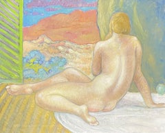ROBERT BOUILLE (1926-2021) LARGE FRENCH OIL - CLASSICAL NUDE IN PROVENCE WINDOW