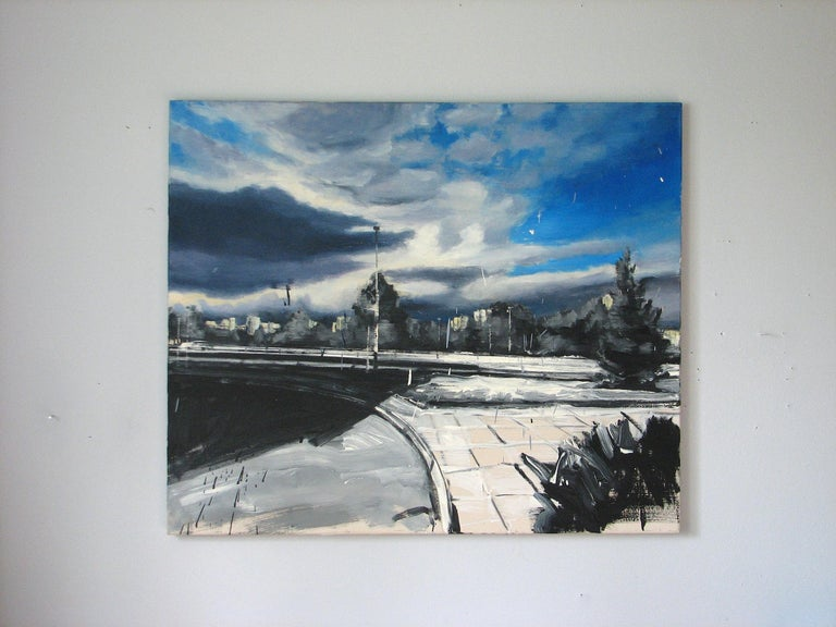 Fate Cousin of Case - Expressive Contemporary Figurative Oil Painting, Realism - Gray Landscape Painting by Robert Bubel