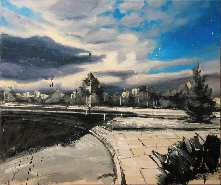 Robert Bubel Landscape Painting - Fate Cousin of Case - Expressive Contemporary Figurative Oil Painting, Realism