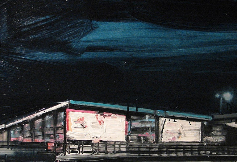 Mooring Light Lines On Railway Stations - Expressive Contemporary Painting - Black Landscape Painting by Robert Bubel
