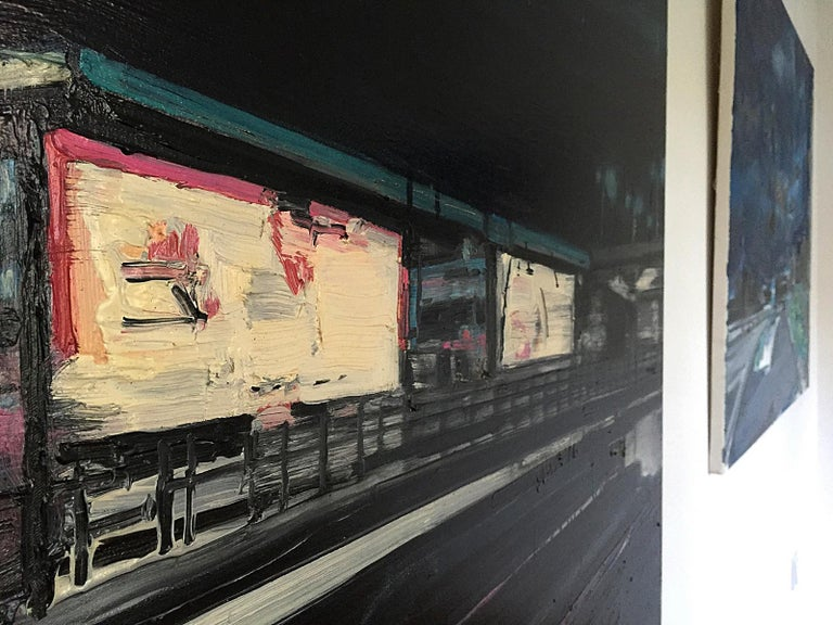 Mooring Light Lines On Railway Stations - Expressive Contemporary Painting For Sale 1