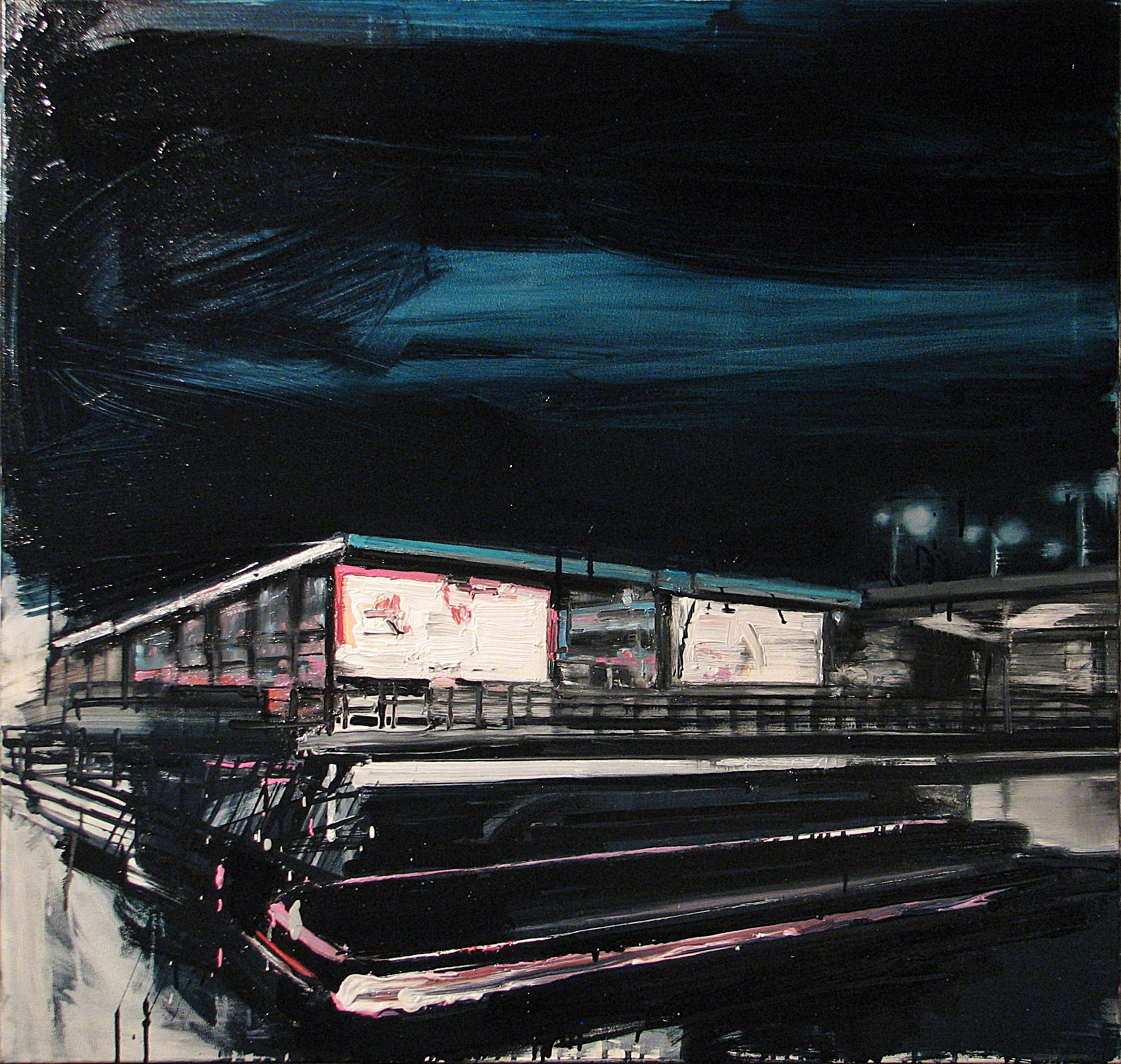 Mooring Light Lines On Railway Stations - Expressive Contemporary Painting