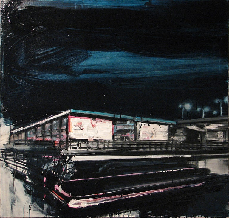 Robert Bubel Landscape Painting - Mooring Light Lines On Railway Stations - Expressive Contemporary Painting