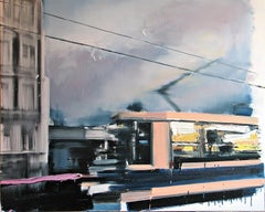 Sunrises and Sunsets (Tram) - Expressive Contemporary Painting, City Landscape