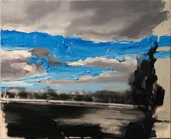 Yesterday, Today,  Fin .... - Expressive Contemporary Oil Painting, Clouds