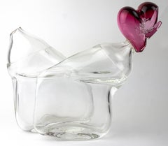 Broken Heart (blown glass clear transparent table top object sculpture Chihuly)
