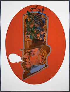 """W.C. Fields,"" Original Serigraph and Collage Portrait by Robert Burkert"