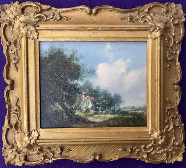English Early 19th Century Village Scene with Cottage For Sale 1