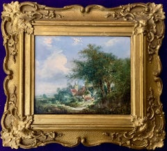 English Early 19th Century Village Scene with Cottage
