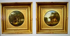 Pair of English Antique Victorian landscapes with horses people carts cottages