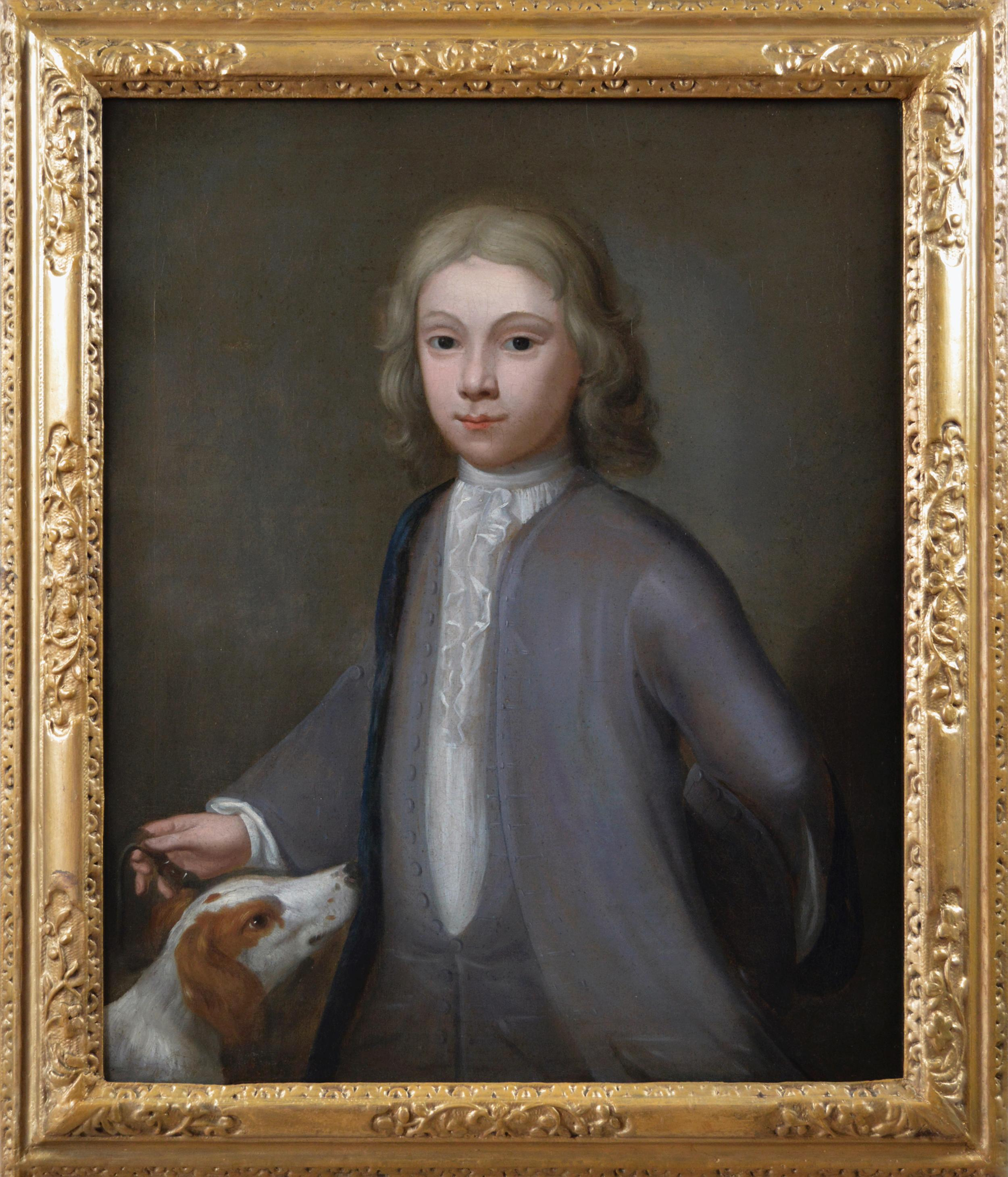18th Century portrait oil painting of a boy with a dog