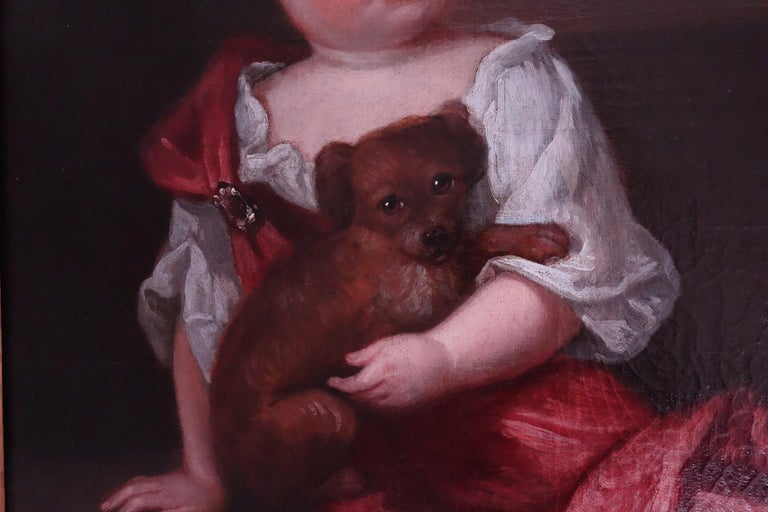 Robert Byng (1666-1720) Portrait of Two Children, English, 17th century. - Black Animal Painting by Robert Byng