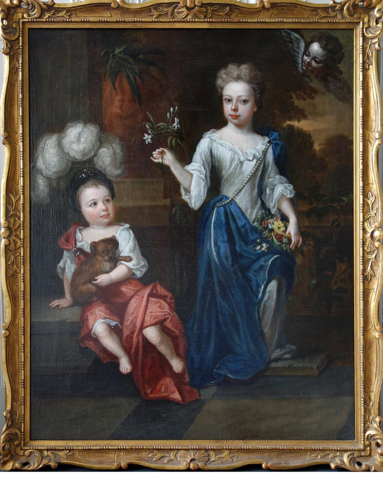 Robert Byng (1666-1720) Portrait of Two Children, English, 17th century. For Sale 2
