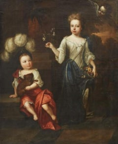 Robert Byng (1666-1720) Portrait of Two Children, English, 17th century.