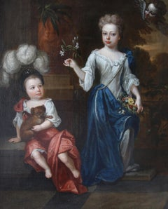 English 17th century portrait of two children, signed 'R. Byng', dated 1697.