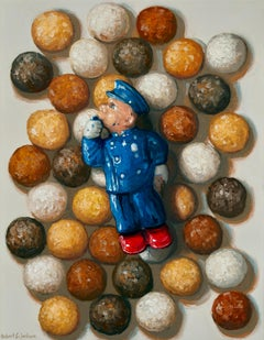 Pure Joy, Contemporary Still Life, Realism, Doughnuts, Police, Oil