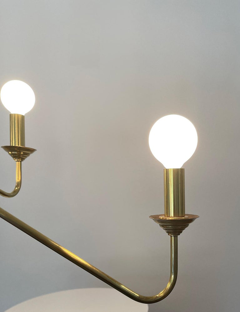 Mid-20th Century Robert Caillat Brass Chandelier, circa 1955 For Sale